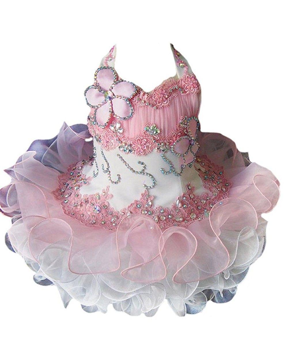 Pretty Halter Neck Cupcake Tutu Girls Pageant Dresses Organza Lace up Flower Girl Dresses Vestidos De Nina Birthday Dresses
