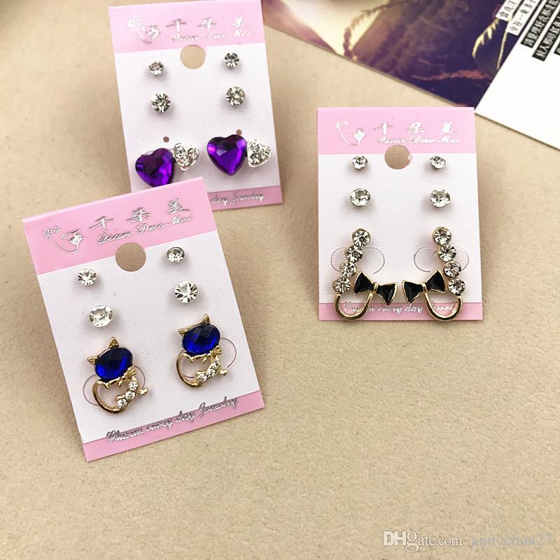 Großhandelsbolzen-Kronprinzessin Cross Wedding Earrings Art und Weise 3 Paare / Los Silber-Goldrhinestone-Perlen-Opal-Zirkon-modische Schmucksachen geben DHL frei