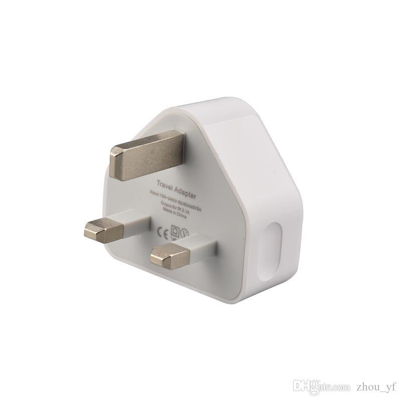Cargador de pared USB AC Wall Power Adapter Charger UK 3 pines Plug para teléfono móvil / MP4 / mp3 Para Iphone 5 5s 6 6s 7 S6 S7 Alta calidad