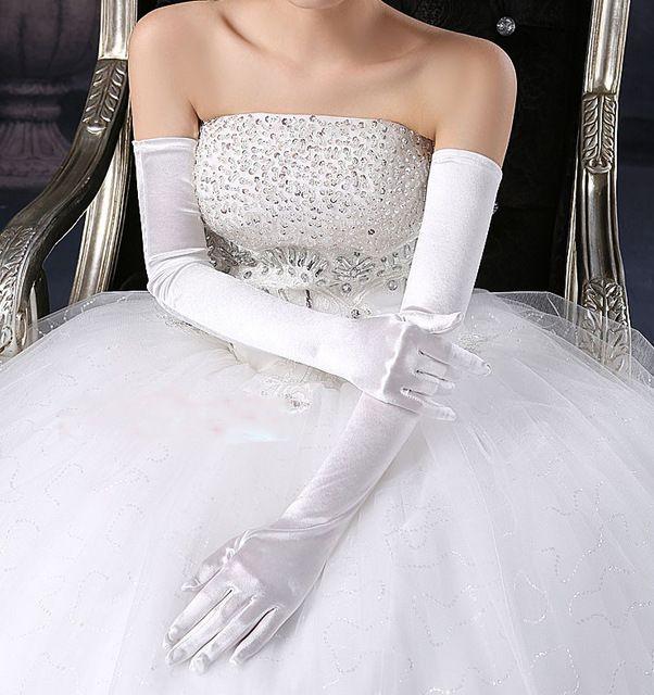 Moda caliente Dedos completos Ópera Longitud Larga multicolor Guantes de boda simples para novias Accesorios de boda de moda