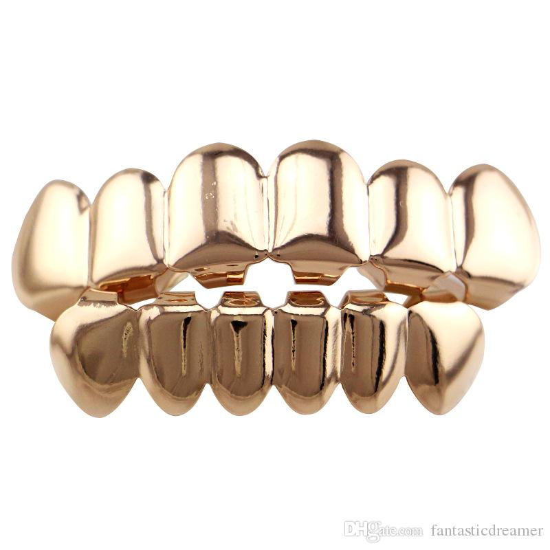 Hiphop Teeth Grillz Gold Rose Gold Silver Plain Grills Set Top&Bottom Tooth Grillz Dental Teeth Caps Party Body Jewelry Christmas Gift