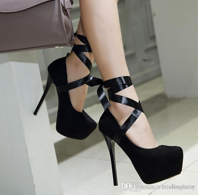 9f79a7bed4c Sexy High Heels Cross Tied Ankle Wrap Platform Pumps Shoes Women Red  Wedding Shoes Size 35 To 40 Leather Shoes For Men Mens Sneakers From  Vivishoescity