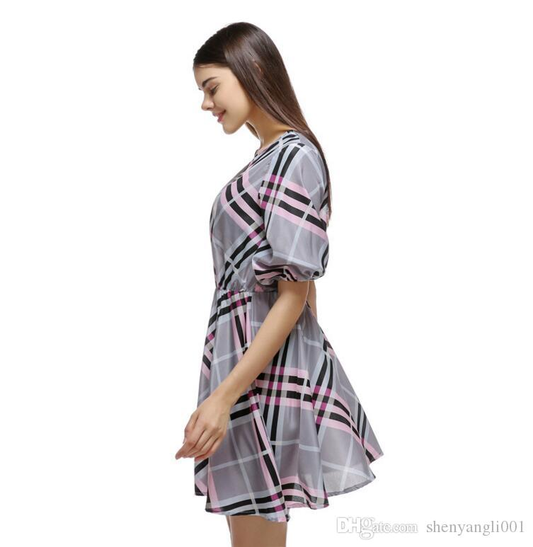 Nell'estate del 2019, l'autunno nuovo vestito sexy plaid colletto mezza manica abito camicia casuale gonna abito da principessa
