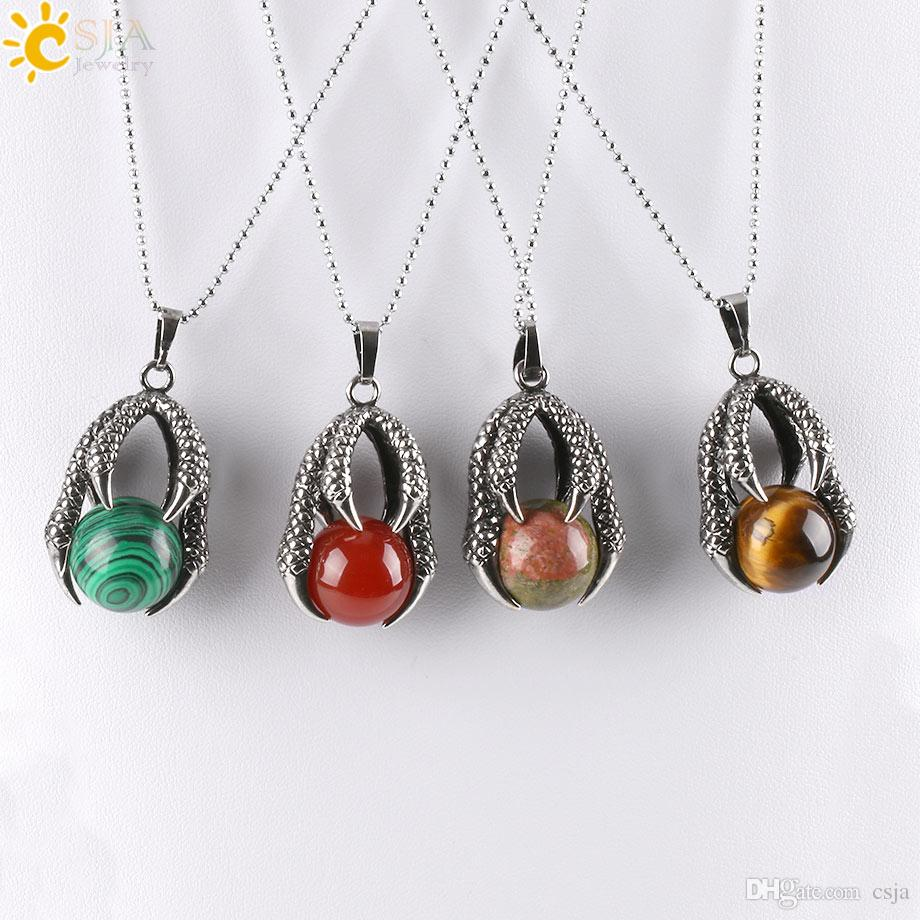 Wholesale csja men jewelry antique silver tribal pendant necklace wholesale csja men jewelry antique silver tribal pendant necklace vintage embossed dragon claw round natural stone bead ball pendants necklaces e454 b aloadofball Images