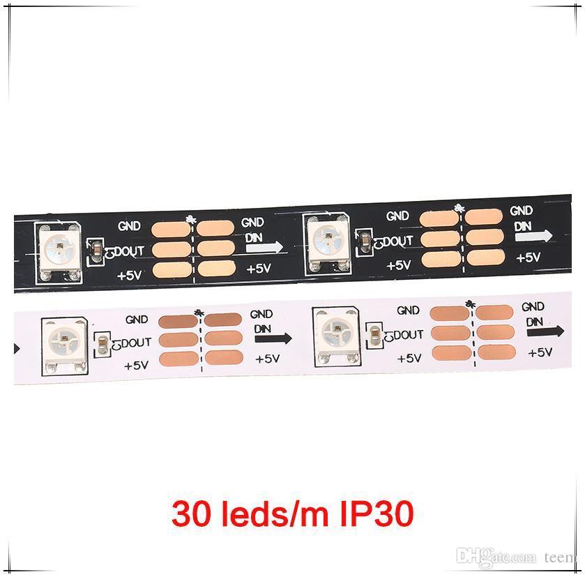 5 m 60 LEDs / m WS2812B WS2812 Piksel Beyaz PCB Su Geçirmez WS2811 IC 5050 RGB SMD Dijital Renk Esnek LED Şerit Işık 5 V 2020