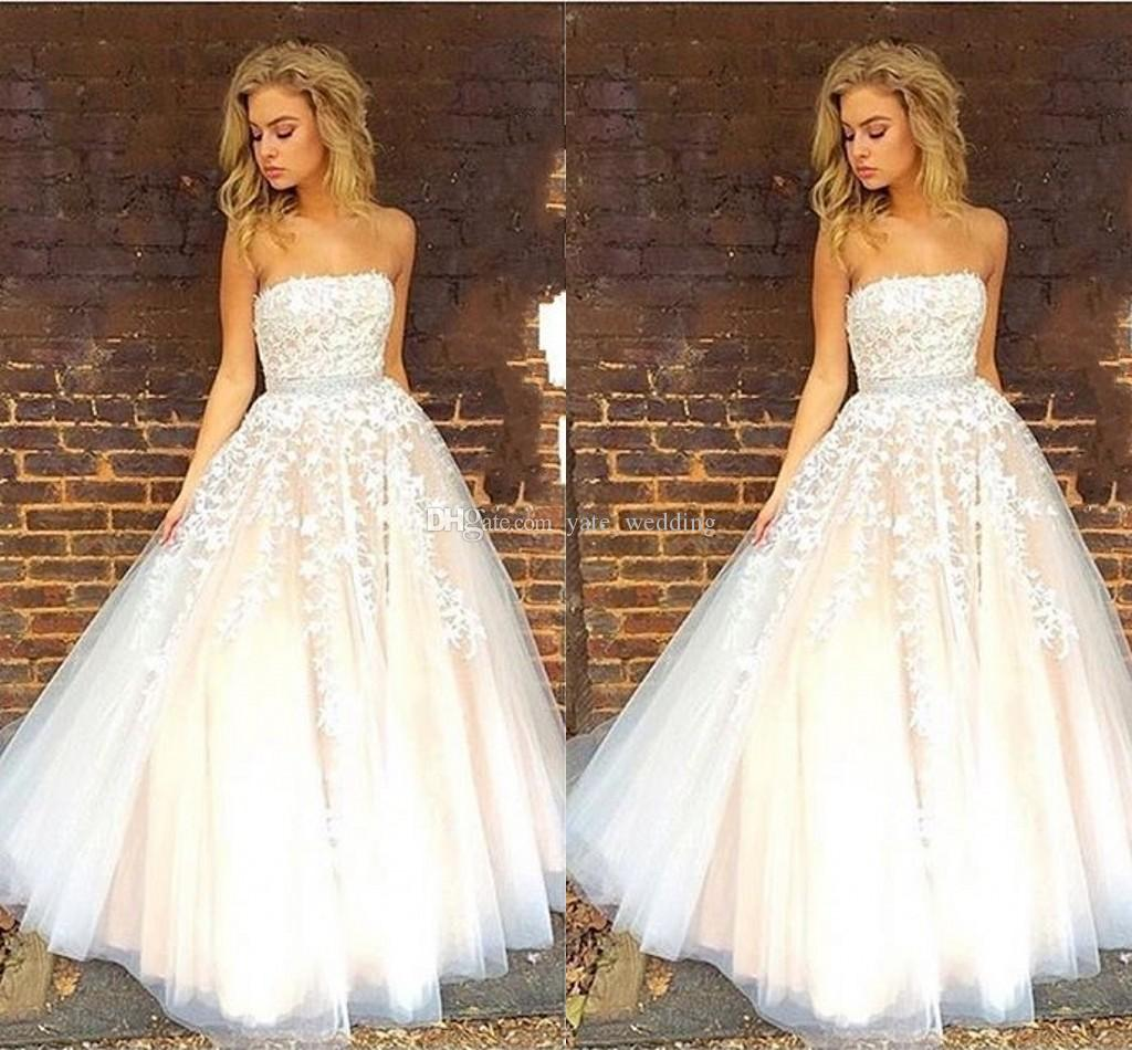 Elegant Strapless Ball Gown Prom Dresses Appliqued Lace Tulle White ...
