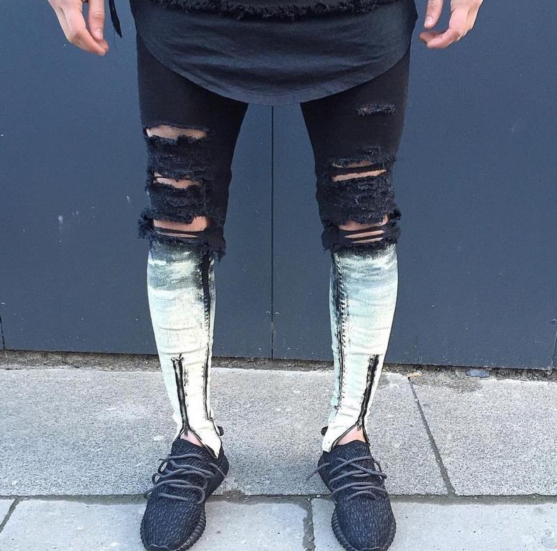 930b38c7282b0 2019 Wholesale 2016 Newest Fashion Tie Dye Hole Destroyed Mens Slim Denim  Straight Biker Skinny Jeans Men Ripped Jeans From Cyril03