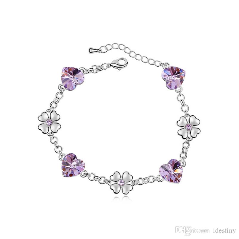 b304f518f0eed High quality rhodium plated heart and clover bracelet made with Austrian  crystals from Swarovski 7 colors available for women s gift