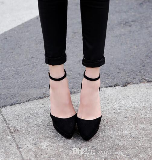 2017 primavera tacco alto scarpe sexy super alta piattaforma pompe punta a punta cinturino alla caviglia donna tacchi alti scarpe tacco spessa club