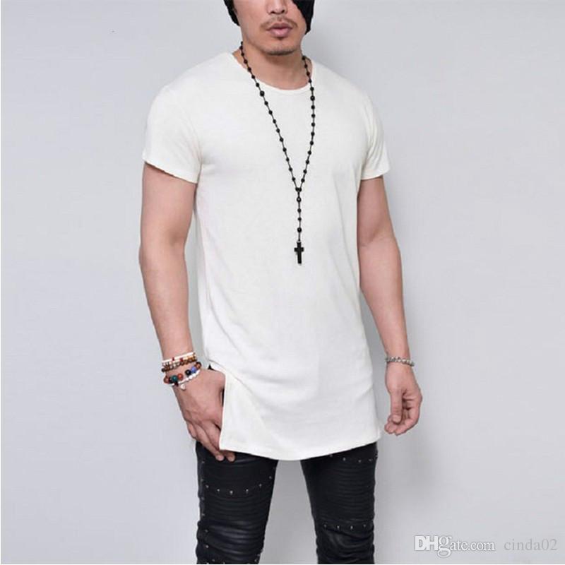 Summer men 39 s short sleeve long style solid black white for Best quality mens white t shirts