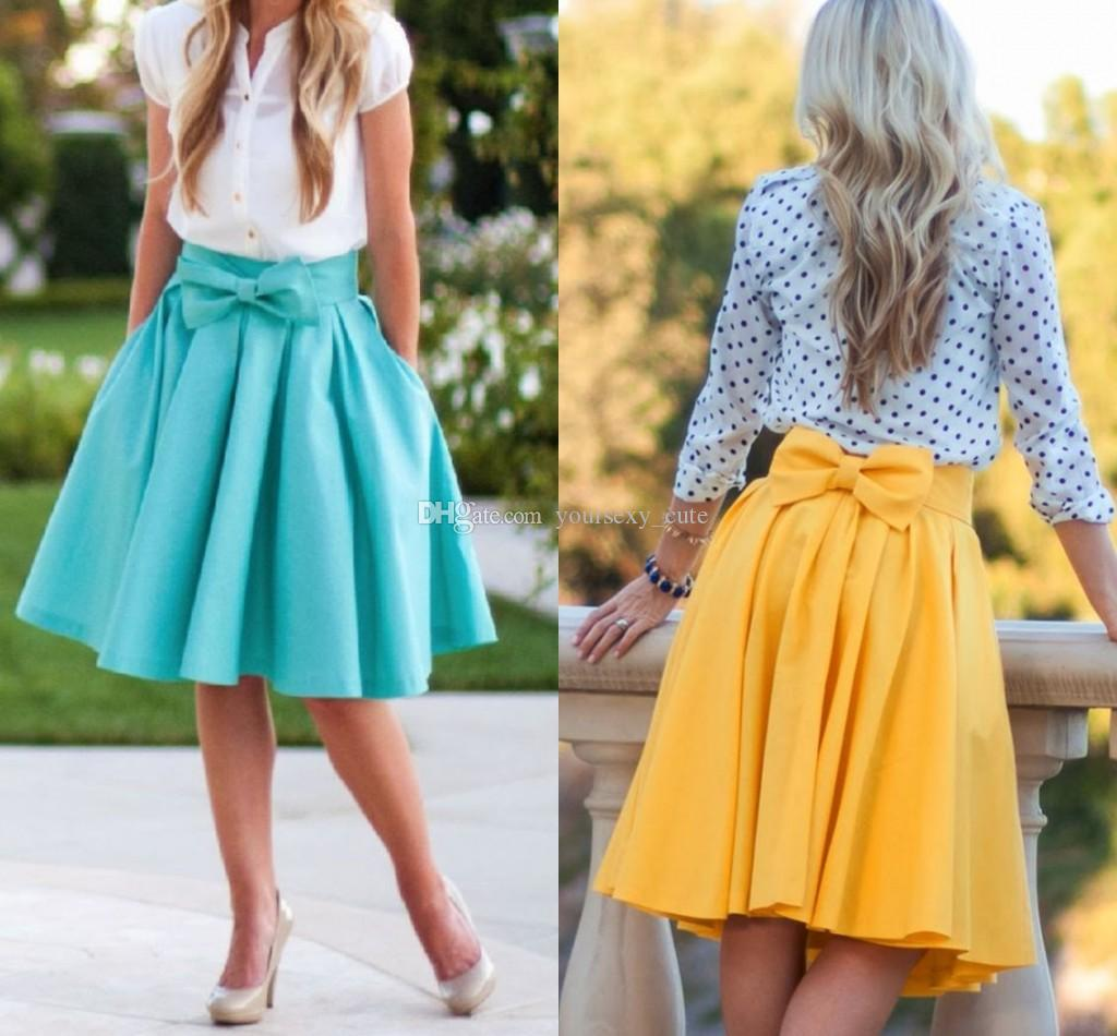 2017 Cute Plain Bowknot Pleated Short Skirts For Women Satin Knee ...