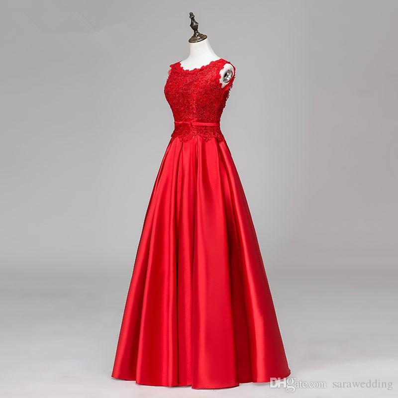 395 abito da sera lungo satinato con appliques pizzi elegante lunghezza del pavimento abiti da sera rosso abito da partito
