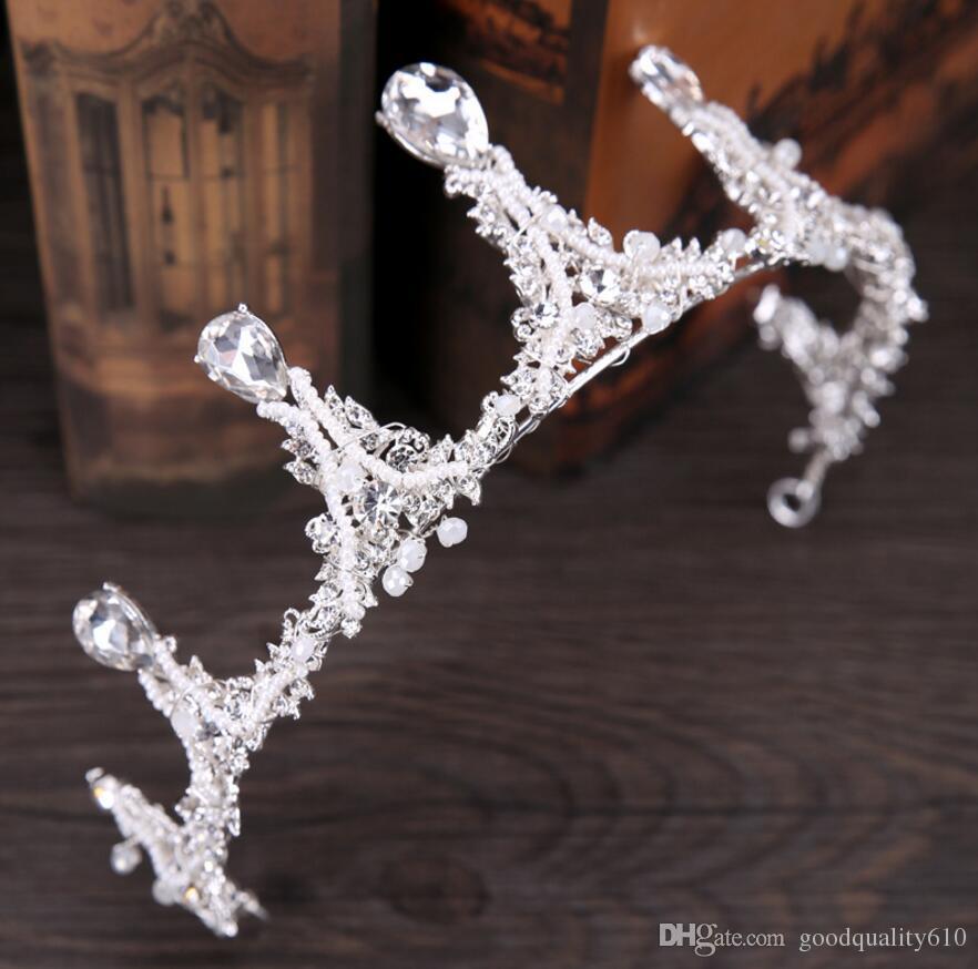 l Baroque Syte Crystals Rhinestones Crown Headband Head Hair Wedding Dress Jewelry Headpiece Bride Princess Ornaments