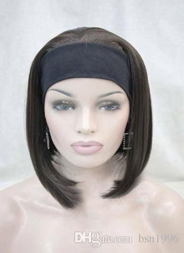 Envío libre hermosa bonita síntesis Linda naranja marrón 3/4 peluca con diadema corta recta sintética media peluca de las mujeres