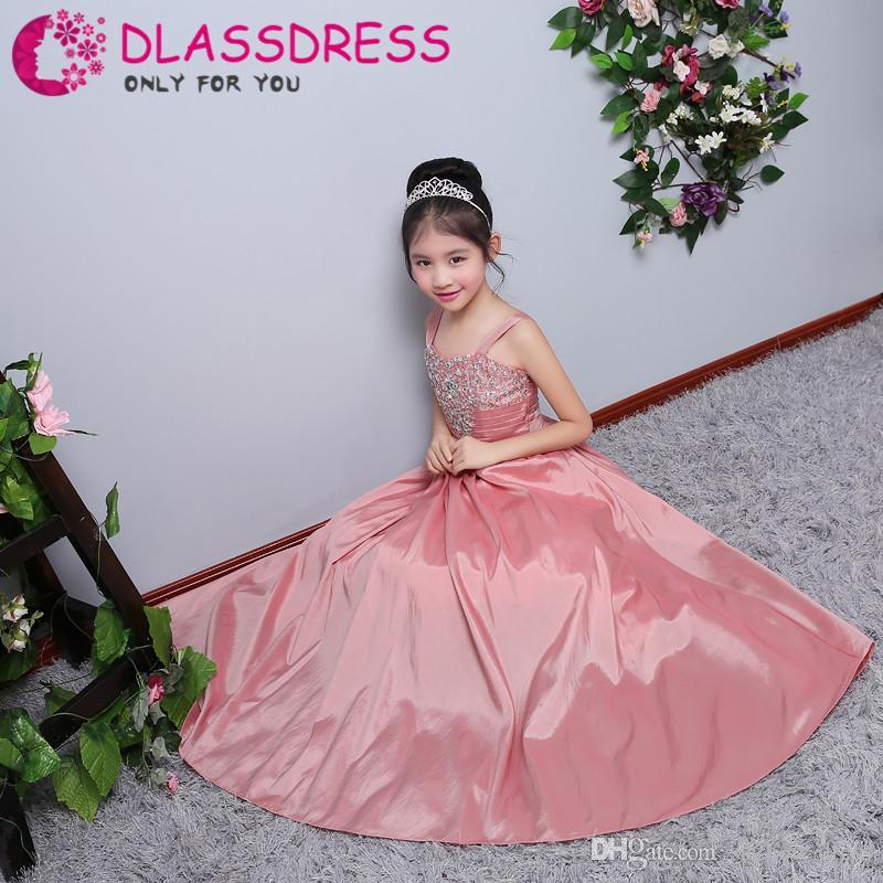 2018 Encantadora V-Necky Tafetán niña de flores Vestido largo hasta la rodilla Granos Vestidos de primera comunión para niñas Cristal de cuentas para bodas