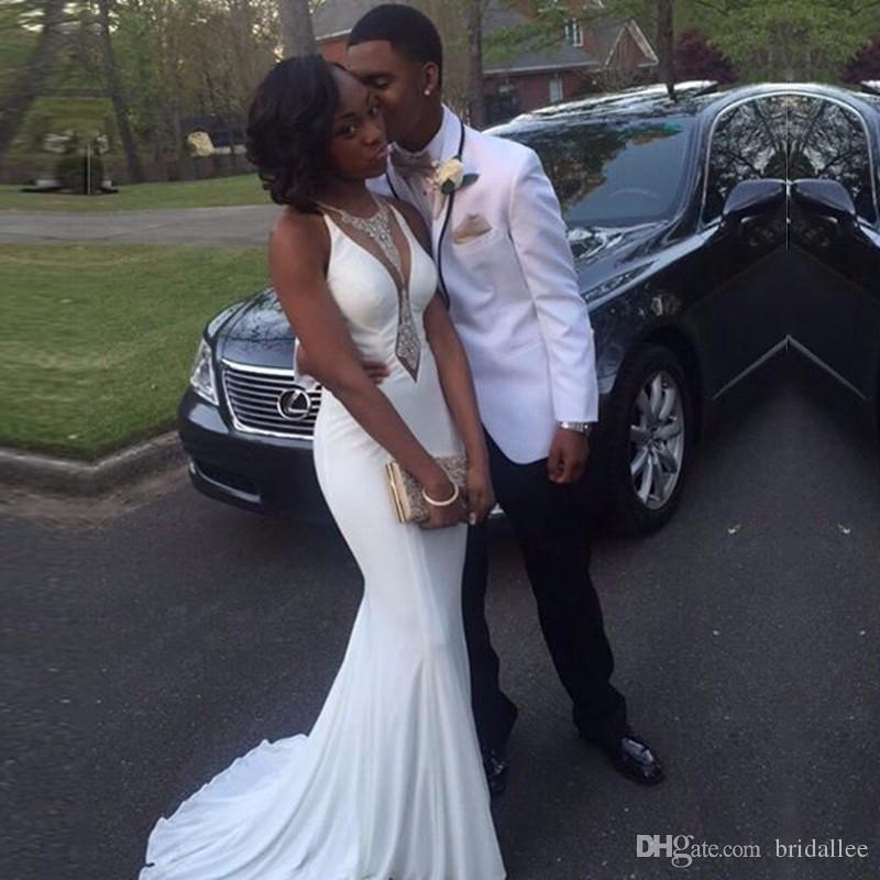 Sexy Negro Gril vestidos de baile sirena vestidos largos de gasa blanca con rebordear vestido de fiesta vestidos de formatura