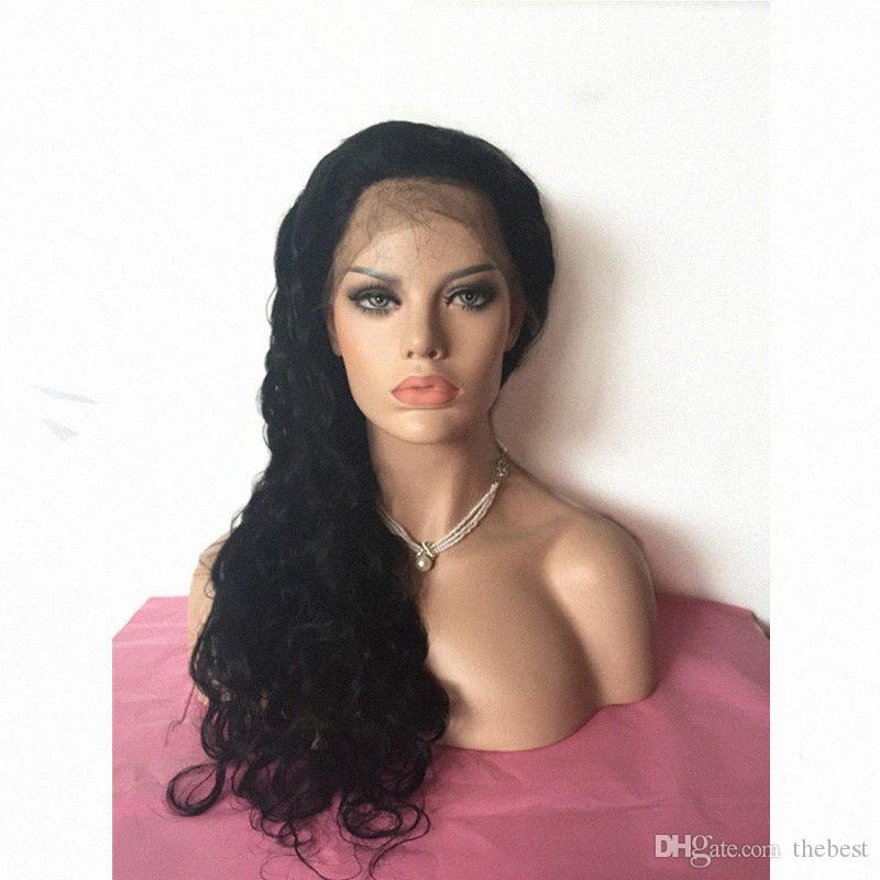 Pelucas de encaje natural sin cola brasileña pelucas llenas del cordón del pelo humano pelucas delanteras onduladas color natural ondulado con el pelo del bebé