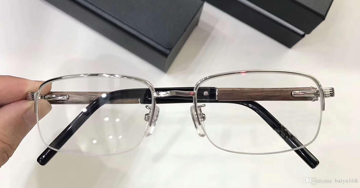 Großhandel Männer Silber Holz Quadratischen Rahmen Brille Brillen ...