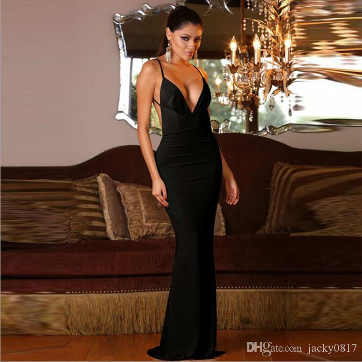 Sexy Floor Length Black Red Long Dress Erotic Mermaid Backless Formal  Backless Dress Sexy Deep V Neck Dress Of Evening Black Dresses For Women  Halter ...
