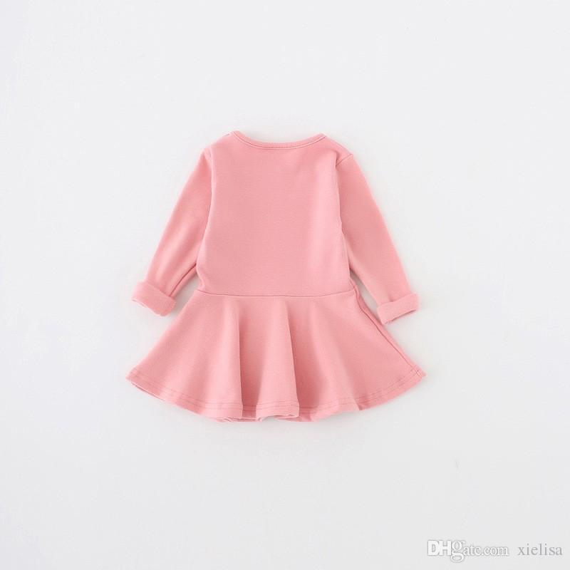 Baby Mädchen Kleider Herbst Langarm Frühling Kleinkind Kleid Mädchen Oansatz Rüschen Kleid