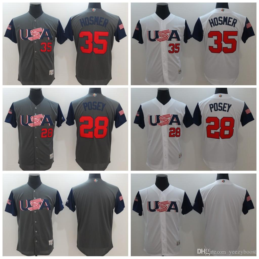 2a1dcfb1469 ... Authentic Jersey 2017 2017 World Baseball Classic 35 Eric Hosmer 28  Buster Posey Men Stitched Usa Baseball Classic ...