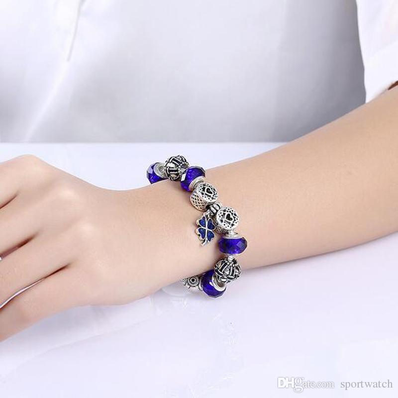 Neue Ankunft Roter Kristall Perlen Armband Europa Amerikanische Mode Handgemachte Große Loch Perle Armband Damen Armband