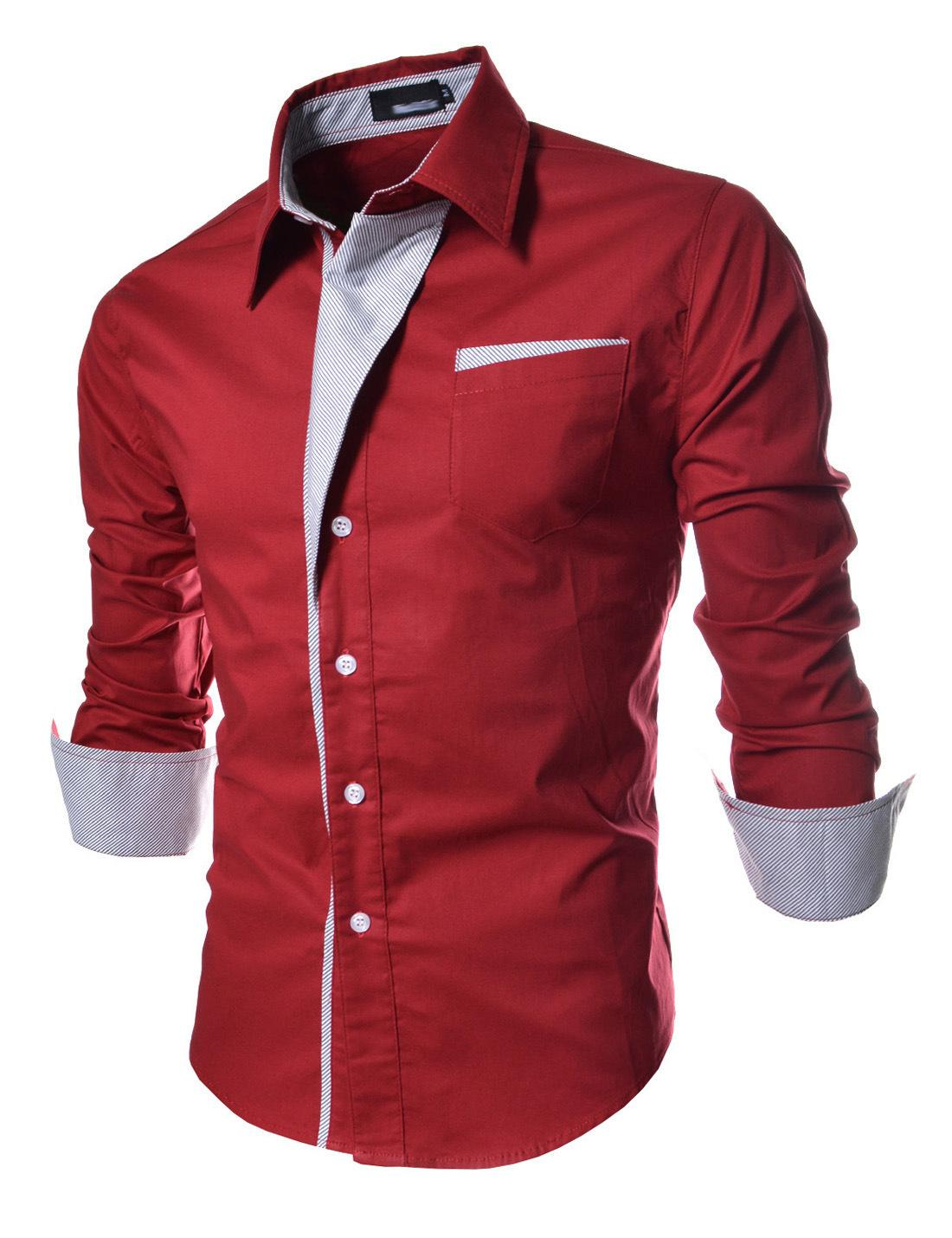 889717d9 Wholesale- Men's long sleeve shirt patchwork casual semi-formal style red  white black navy new fashion drop shipping