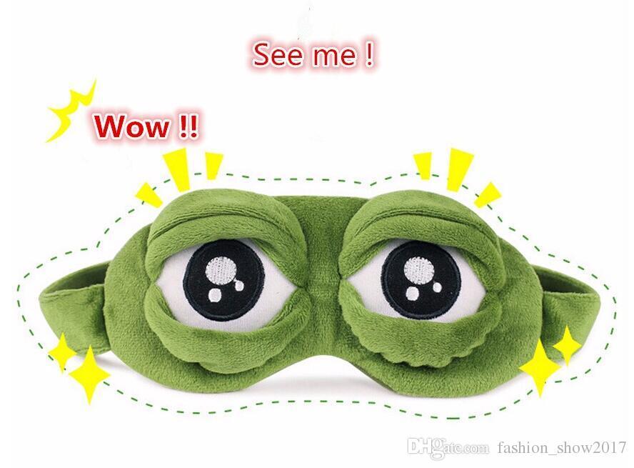Masque pour les yeux Sommeil Mode Kawaii Voyage 3D Triste Grenouille Rembourré Couverture D'ombrage Dormir Fermé / Ouvrir Les yeux Drôle