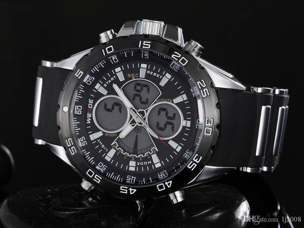 WEIDE Marque NOUVELLE Arrivée De Mode Quartz Numérique Montre Hommes Montre Homme Noir Bracelet En Caoutchouc Relogio Militaire Reloj Masculino Hombre Horloge