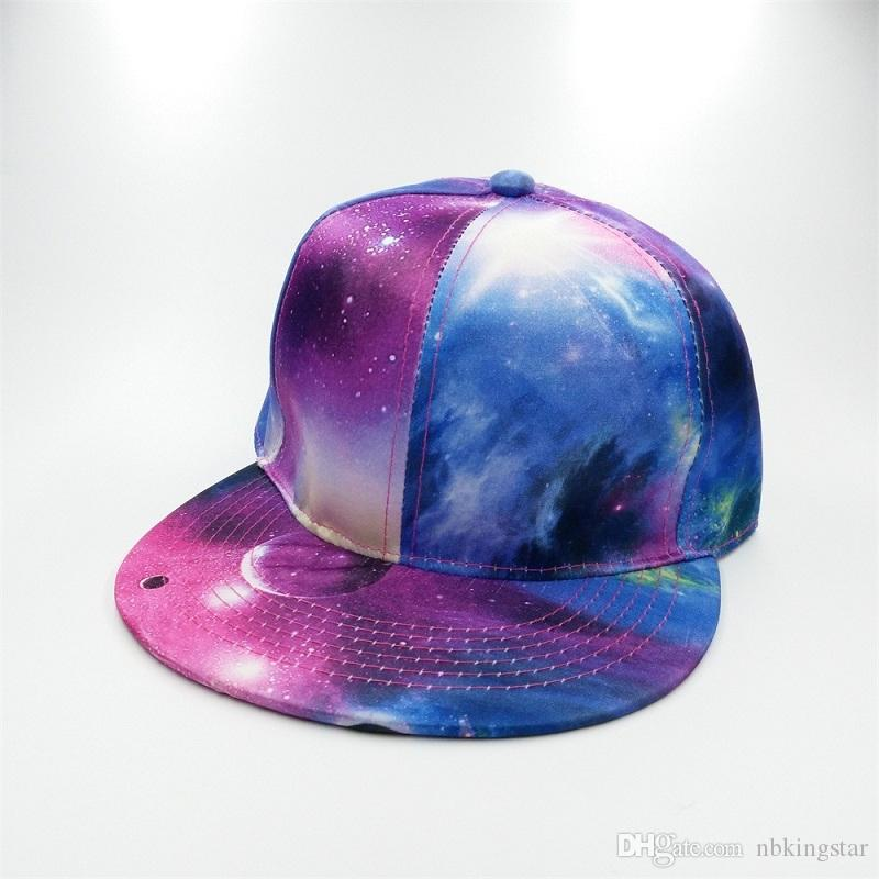 Fashion Unisex Printing Starry Sky Baseball Cap Flat Brim Women Summer Hip hop Hat Men Galaxy Space Gorras Snapback Hats