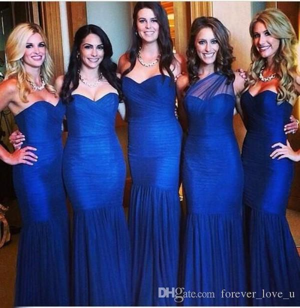 Kraliyet Mavi Custom Made Nedime Elbiseler Mermaid Sevgiliye Bir Omuz Dantelli Tül Ucuz Yüksek Kalite Gelinlik Giydirme Onur Hizmetçi