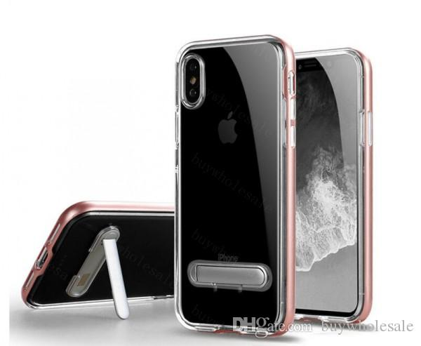 Kickstand PC TPU Case For Samsung s8 s8plus For Iphone 8 7 6s Plus Clear Armor Cover Bumper Case With Stand top quality
