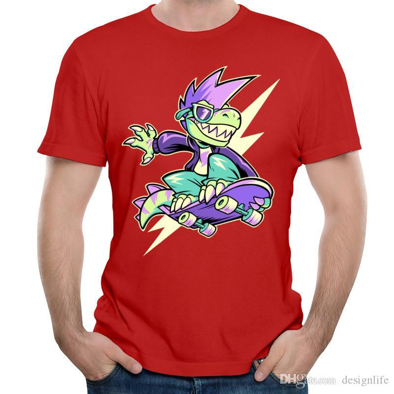 Imprimer T-shirt skateboard garçon cool dinosaure nouvelle liste hommes manches courtes col rond T-shirt en coton respirant personnalisé Il est correct d'être Rad