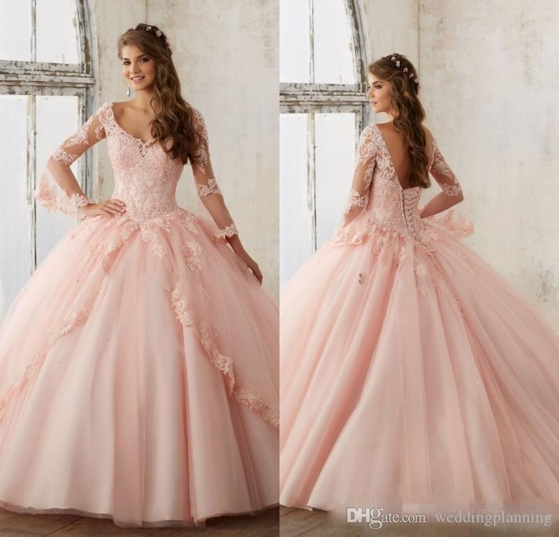 Baby Pink Blue Quinceanera Vestidos 2017 de encaje de manga larga con cuello en v de la mascarada vestidos de bola Sweet 16 Princess Pageant Dress For Girls Barato