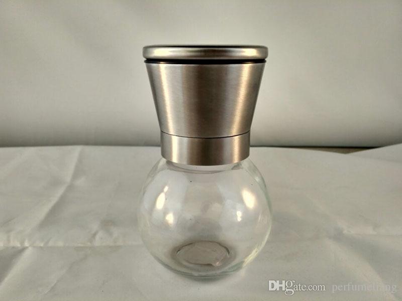 Juego de molinillo de sal y pimienta de acero inoxidable de vidrio redondo cuerpo molino de cerámica Rotor práctica herramienta de cocina ZA5360