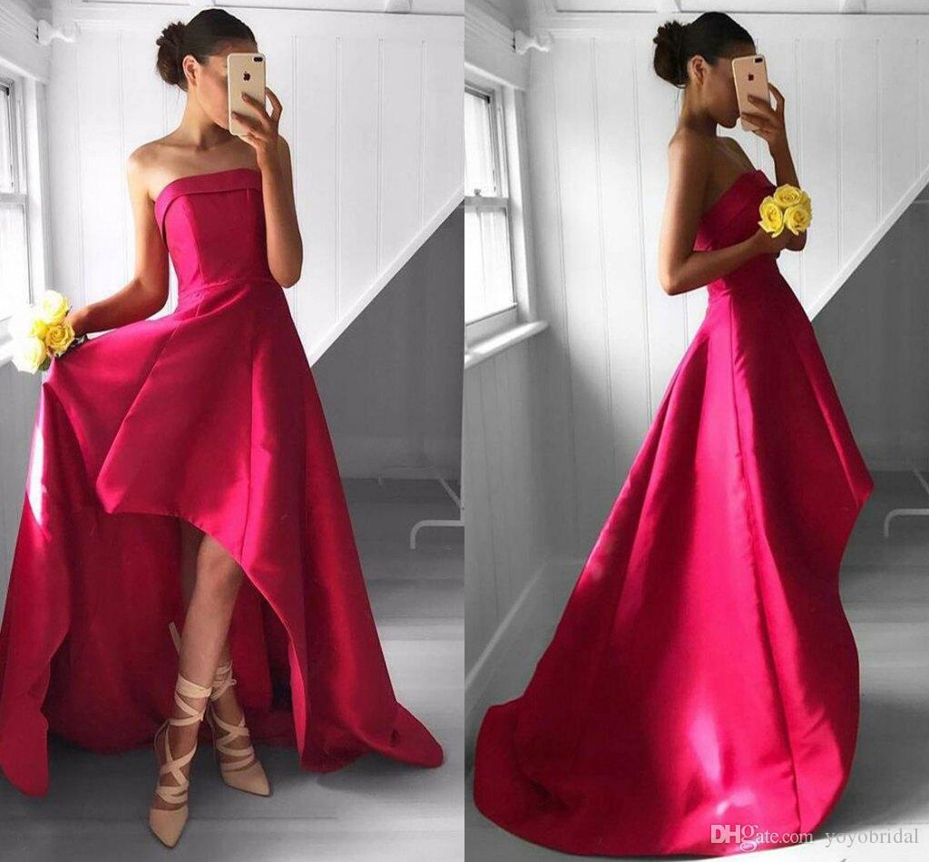 Hot pink high low prom bridesmaid dresses cheap formal gowns hot pink high low prom bridesmaid dresses cheap formal gowns strapless satin simple with sweep train evening party wear gown backless short prom dresses on ombrellifo Image collections