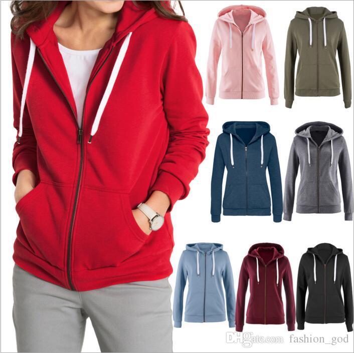 6b347b49 Hoodie Zipper Jackets Women Hooded Coat Pocket Pullover Fashion Tops Casual  Long Sleeve Sweatshirt Solid Hoodies Winter Jumper Outwear B2718