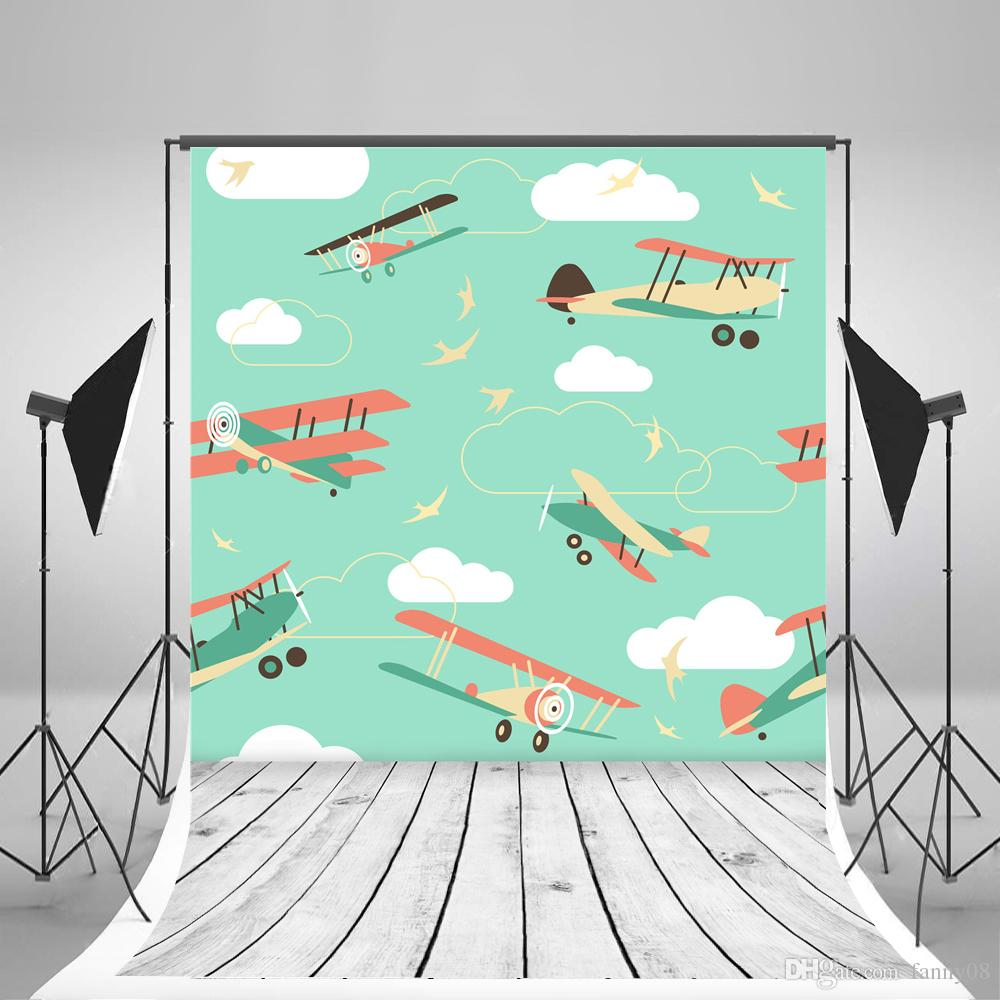 Children Birthday Photographic Backgrounds Cartoon Aircraft Model Photo Backdrop Wood Floor Backdrops
