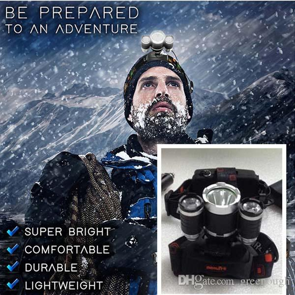 5000LM LED Headlight 3X CREE XML T6 Flashlight Torch Lamp 4 Mode Head Lamp + AC Charger For Bicycle Bike Light Outdoor Sport