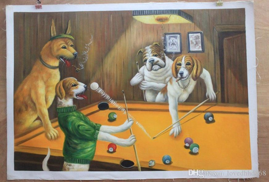 Playing Billiards,Pure Handpainted Abstract Animal Art Oil Painting ...