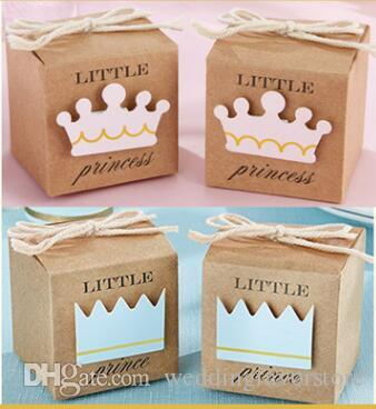50pcs Little Prince Or Princess Crown Favor Boxes Baby Shower Birthday Favors Kraft Paper Candy Boxes Wedding Favors Gift Box