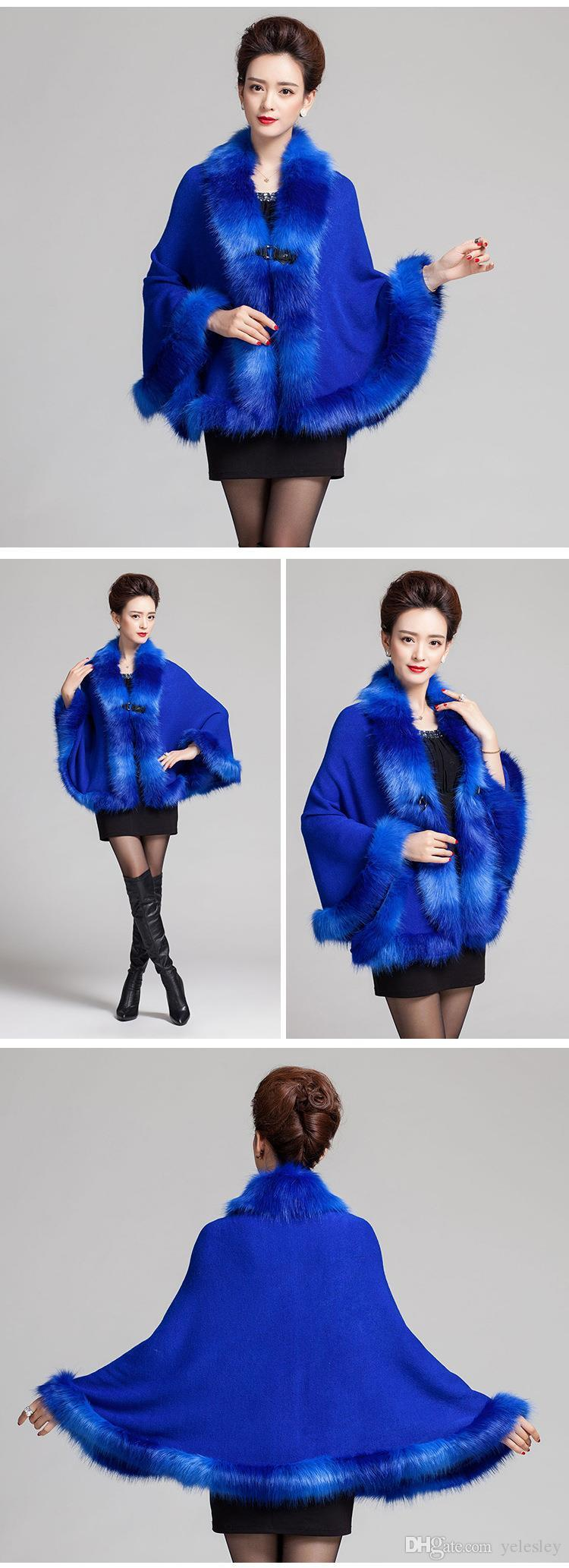 Faux Fox Fur Mixed color Poncho Coat Autumn Winter thick Women's Long Cardigan Fake Raccoon Fur Collar trim Cashmere Sweater Shawl Knitted
