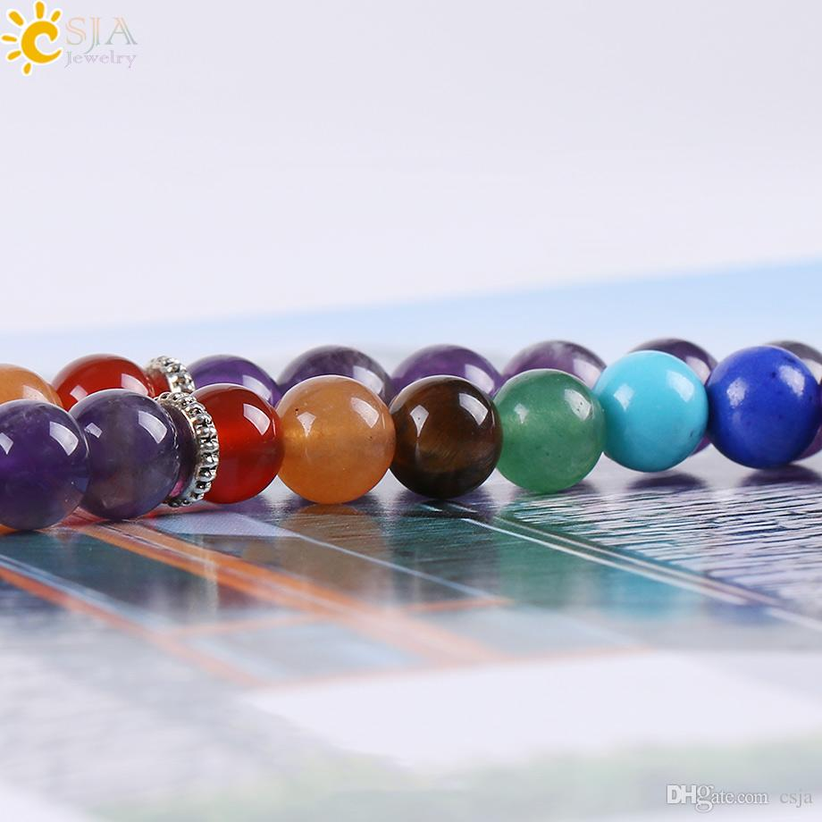 CSJA Reiki Natural 7 Chakra Multi Layer Amethyst Gemstone Charms Bracelets Women Purple Crystal 108 Mala Yoga Beads Meditation Healing E655