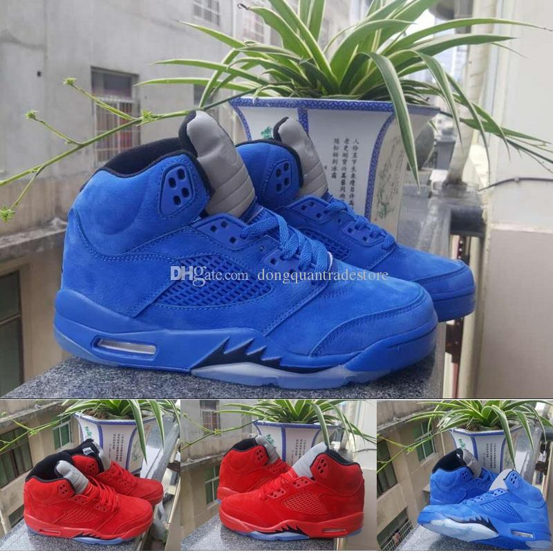 size 40 da659 d55ca Men Raging Bull Red Suede Tongue Reflect Basketball Shoes 5s Bull Blue  Sneakers Shoes