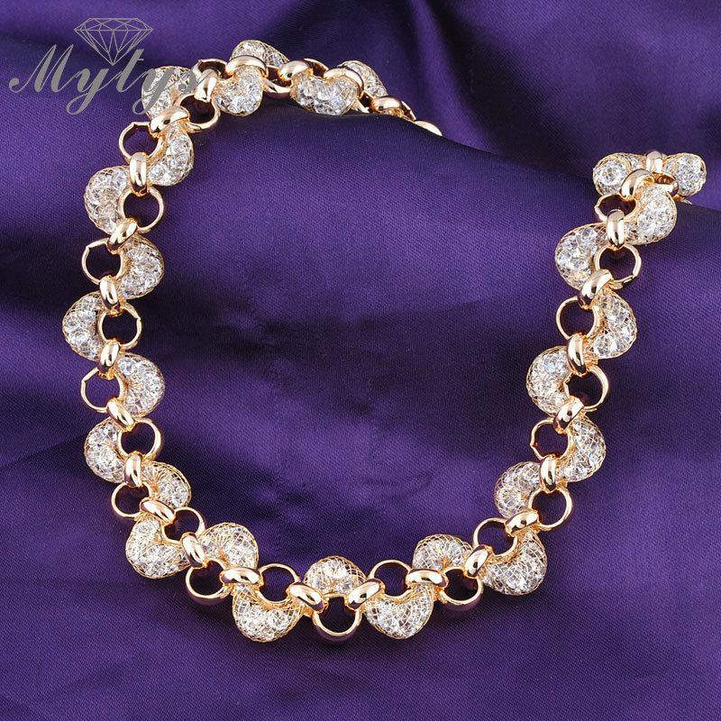Mytys gül altın mesh net GP Karides şekli net zirkon çevreler kadınlar için kolye ve küpe seti BNIB N356