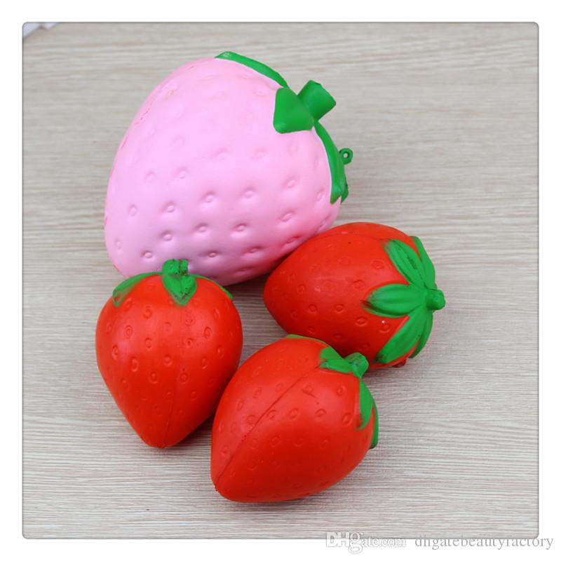 Cute Jumbo Strawberry Squishy Kawaii Squishies Slow Rising Pendant Phone Straps Charms Kid Toys Strawberry Squishies Ice Cream KeyChains