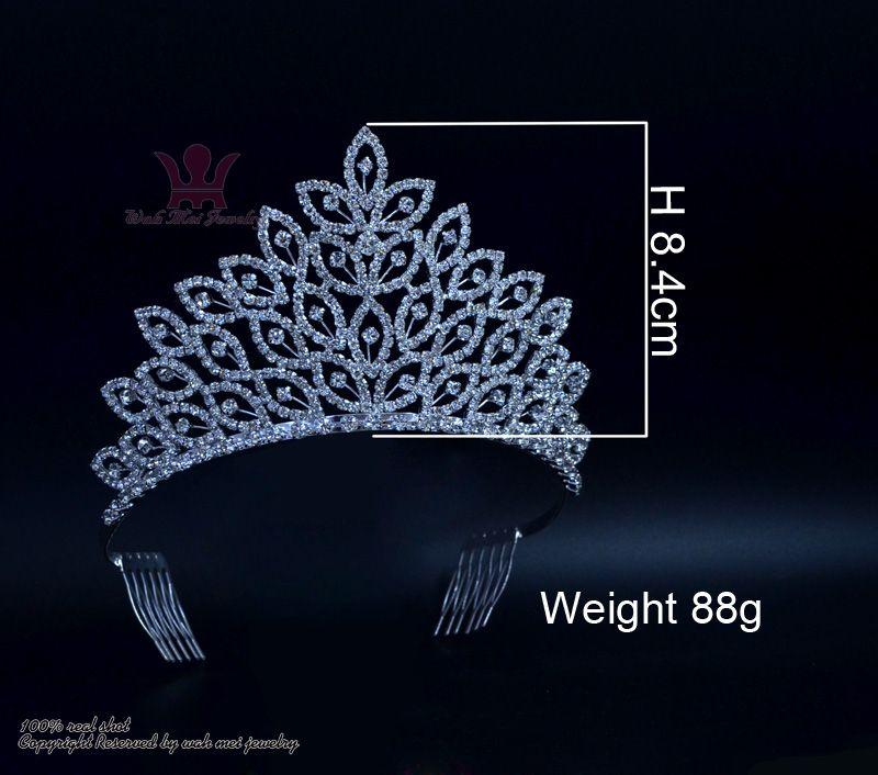 Yapraklar Orta Güzellik Pageant Kraliçe Taç Rinestone Gelin Düğün Tiaras Kristal Saç Takı Prenses Pretty Kızlar Parti Gösterisi Balo 02401