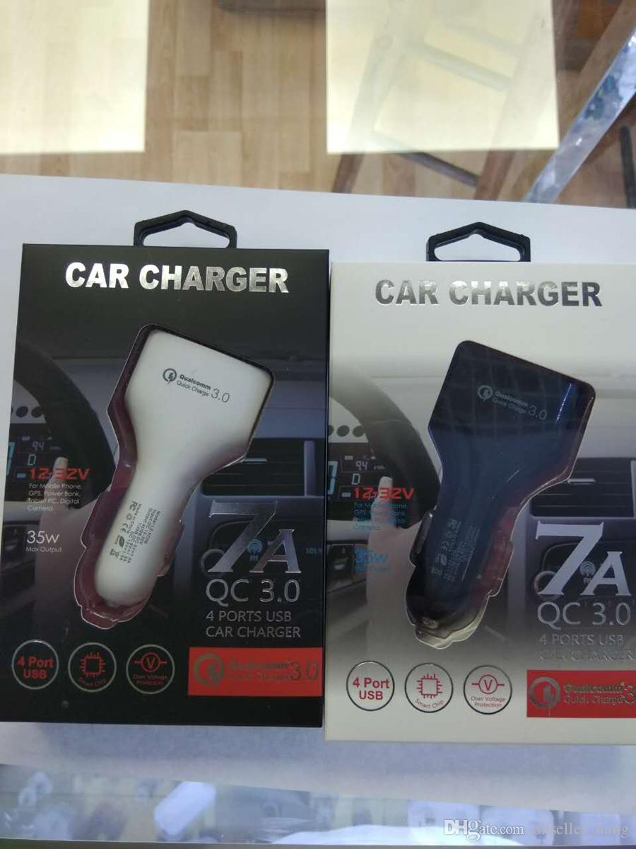 QC3.0 Chargers Qualcomm Quick Charge car chargers 5V 7A 9V 1.8A 4port USB phone fast charger with retail package