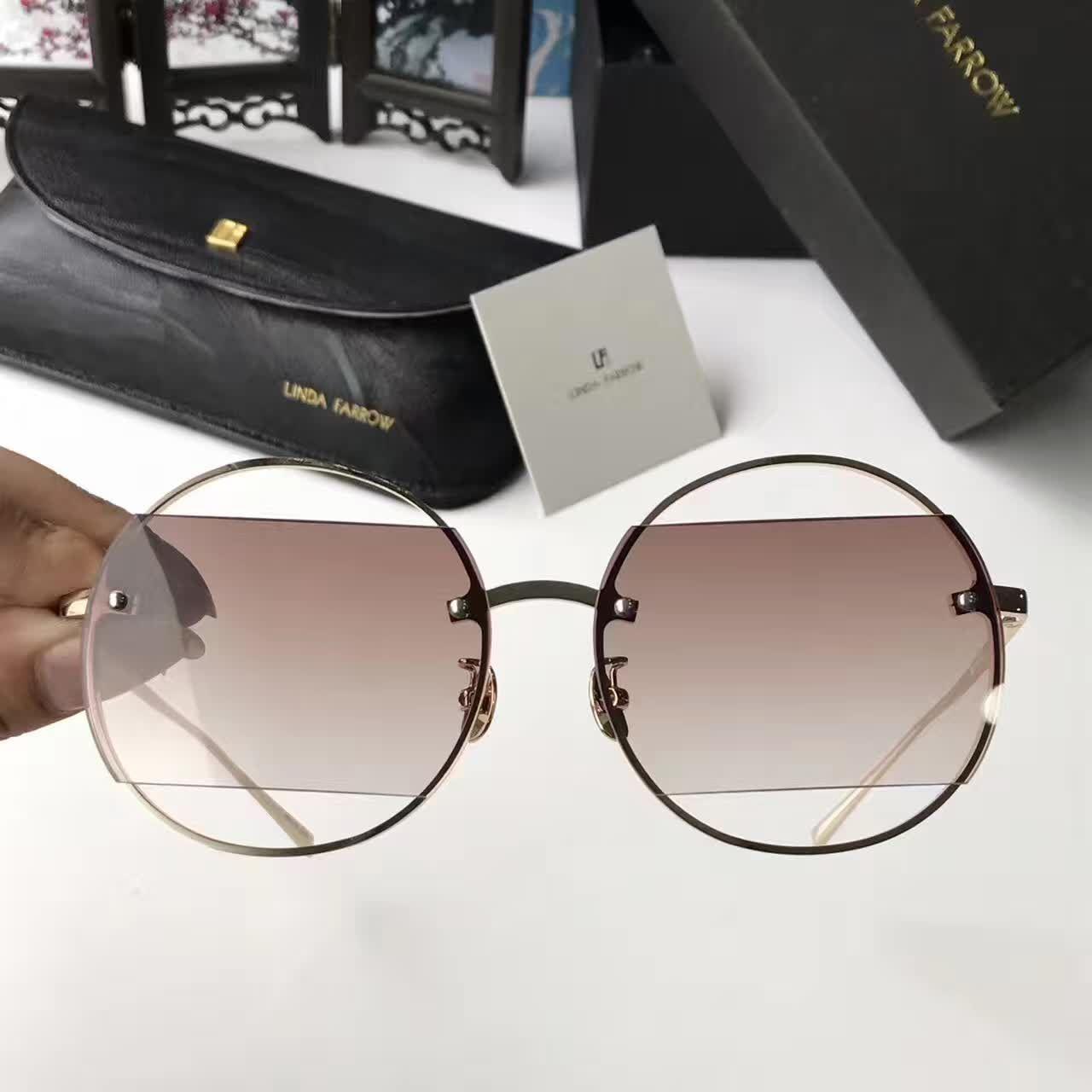 a69bafb1ff60 2017 Linda Farrow LFL426 Round Sunglasses Gold brown Shaded Women ...
