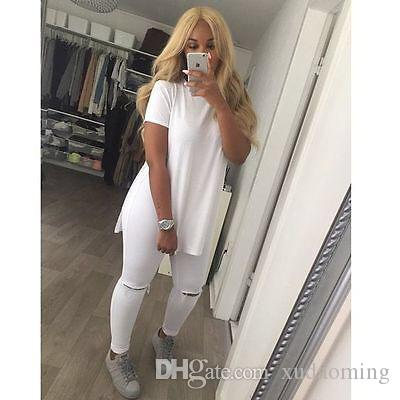 2017 New Pattern Suit-dress Round Neck Skirt Vent Solid Color T Shirt Pity Long Tshirts Blouses Women T-shirt Clothing Woman Clothes
